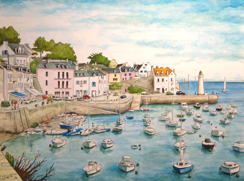 belle ile aquarelle port de sauzon