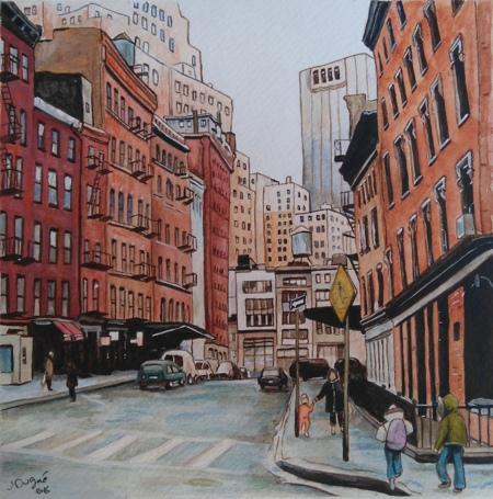 duane street new york watercolor