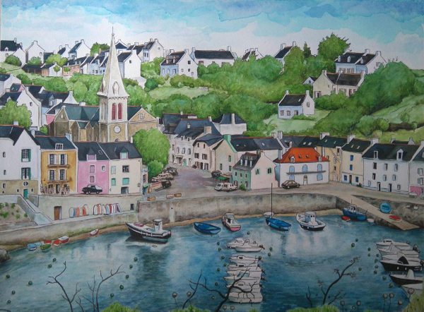 sauzon aquarelle port belle ile