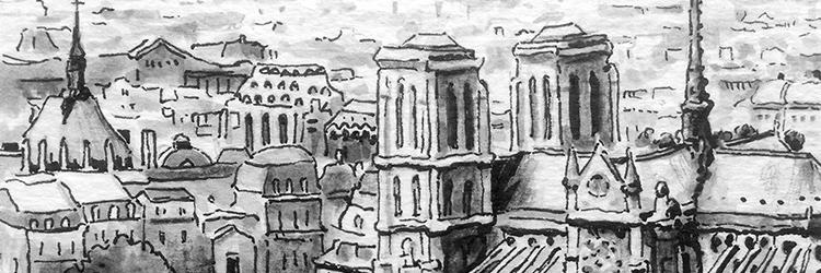 dessin paris lavis de gris
