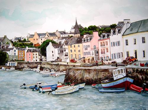 port de sauzon aquarelle