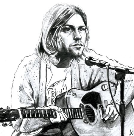 cobain portrait crayon
