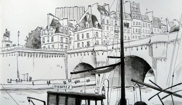 pont neuf croquis paris