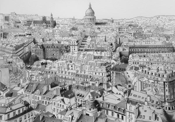 dessin paris panoramique