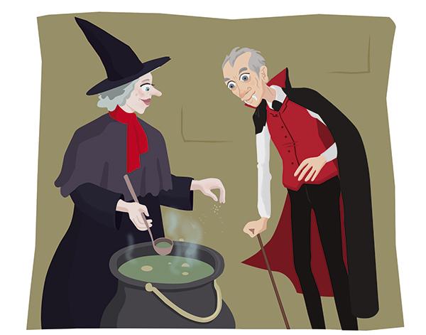 dessin conte sorciere vampire